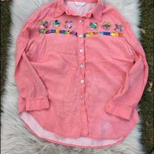 Vintage Peach blouse coral patchwork silky top